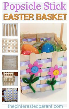 Popsicle Stick Easter or spring Basket Craft