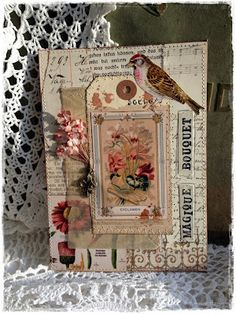 Xelas Art Blog ~ spring collage with bird and flowers