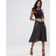 Liquorish Pleated Midi Skirt ($38) ❤ liked on Polyvore featuring skirts, black, knee length pleated skirt, high waisted sequin skirt, stretch skirts, high waisted bodycon skirt and pleated skirts