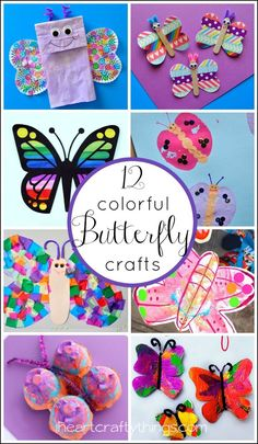 12 Colorful Butterfly Crafts for Kids featured on iheartcraftythings.com.