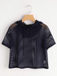 Camiseta corta de capucha con hombros caídos en rejilla