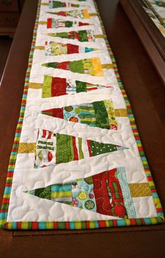 Modern Christmas Tree Table Runner by TheSwankyBlankie on Etsy, $26.00