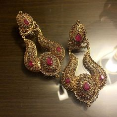 Zaheen kamran rubi silver gold plated earrings