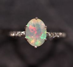 Natural Ethiopian Opal 14k White Gold Ring w/ Diamond - Size 6 - Handmade Gemstone Fine Jewelry #1252 by ZoZoDesignsUSA on Etsy https://www.etsy.com/listing/229771817/natural-ethiopian-opal-14k-white-gold