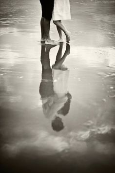 Love reflection love black and white beach couple sand
