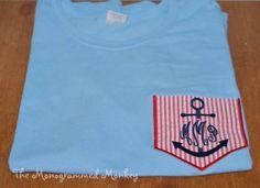 Personalized Monogrammed Anchor Seersucker Fabric Pocket Tee by TheMonogrammedMonkey, $19.99
