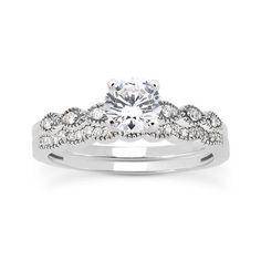 0.50 Cttw Diamond Bridal 2 Piece Set Engagement Ring Wedding Band 14K White Gold