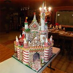 Gingerbread Castle -- Completely edible, this stands over three feet tall with candy mosaics and handmade candy fairies. It's made from 11 batches of gingerbread, 20 batches of icing and pounds of candy and cookies.
