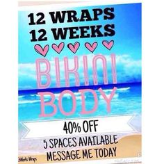 FAST START TO A BIKINI BODY!! On the 90 day challenge you pay £59 for 4 wraps instead of £100.  You wrap every week for 12 weeks, so 4 wraps a month.  FREE diet and exercise plan.  Chance to win an additional FREE BOX OF WRAPS.  Any products you wanted in future then are also 50% off. http://christell.myitworks.com/