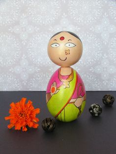 Sundari Devi - Hand Painted Wooden Golu Dolls