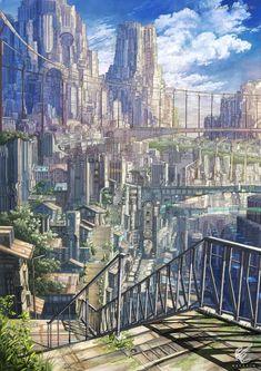 Fantasy City, Fantasy Castle, Fantasy Places, Fantasy World, Fantasy Art Landscapes, Fantasy Landscape, Landscape Art, Fantasy Concept Art, Fantasy Artwork