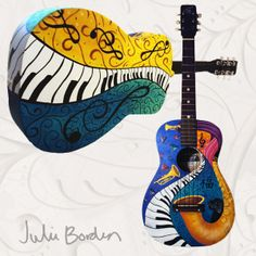 "Hand Painted Guitar by artist Julie Borden, owner of Juleez. ""My World"" Custom Commissioned Guitar www.juleez.com"
