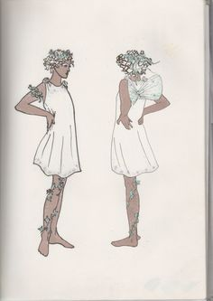 A midsummer nights dream costumes YSC. Freelance costume design and production. Summer theatres back in the early 90's. Marker pen and fine liner on paper. By Wendy Nicolic.