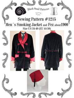 Mens Smoking Jacket and Fez about 1900 by BlackSnailPatterns