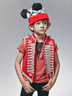 Military waistcoat from Stella McCartney, bobble hat from Rokit, T-shirt from Bobo Choses, boyswear for summer 2015