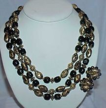 Striking Black and Mottled Gold Necklace and Earring Set