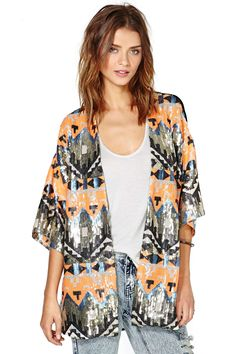 Nasty Gal Poison Arrow Sequin Kimono   Shop Clothes at Nasty Gal