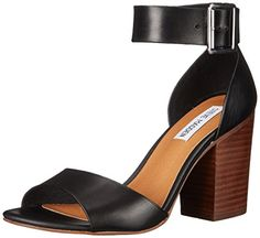 Steve Madden Women's Estoria dress Sandal, Black Leather, 8.5 M US * Find out more about the great product at the image link.