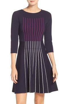 Eliza J Stripe Knit Fit & Flare Dress available at #Nordstrom