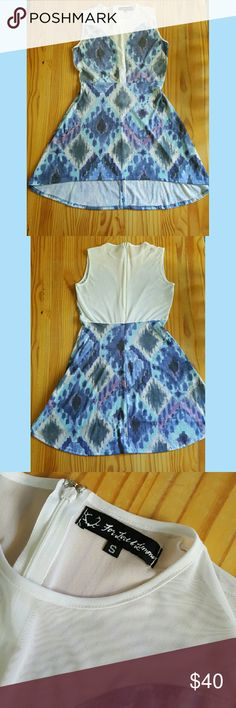 For Love and Lemons dress Adorable dress with white mesh in the front and back. Fabric is super soft and features blues and purple aztec like diamond shapes pattern.    In good, lightly used condition. For Love and Lemons Dresses