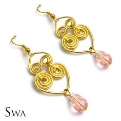 18k Gold plated , 100% handcrafted wire heart earrings