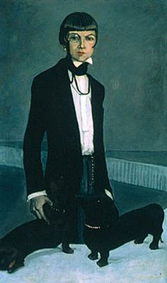 Una, Lady Troubridge painted by Romaine Brooks. The long time(28 years) partner of famous literary lesbian Marguerite Radclyffe-Hall, she translated Colette from French ino English, was a noted sculptor, and showed prize winning daschaunds, shown with her here.