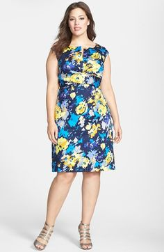 Donna Ricco Floral Print Cap Sleeve Sheath Dress (Plus Size) available at #Nordstrom