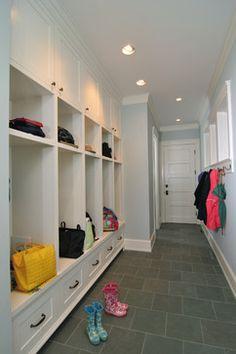 mudroom design - cupboards, open shelves, drawers
