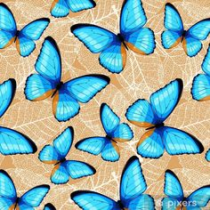 Papel Pintado Estándar Mariposas azules sin costura - Animales Painting, Art, Blue Butterfly, Wall Papers, Butterflies, Blue Nails, Paper Envelopes, Party, Patrones