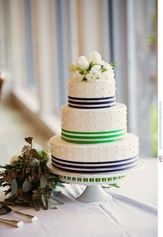 Navy and Lime Green Nautical Preppy Wedding Cake, desireedawnevents.com