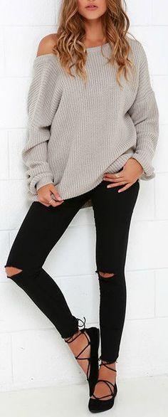 Split Knee: Black skinny jeans split knee, hot trend