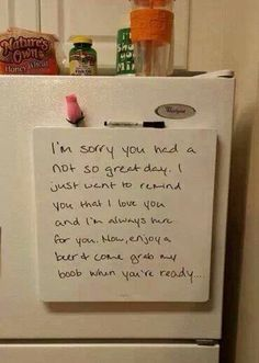 What a fantastic note to leave for your man on his hard days Romance, L Love You, Funny Love, Mom Funny, Love Notes, Married Life, Love Letters, True Love, Relationship Goals