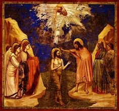 Giotto, 1304, immersion baptism of Christ, Padua.