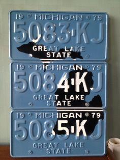 Detroit Skyline License Plate Art Print