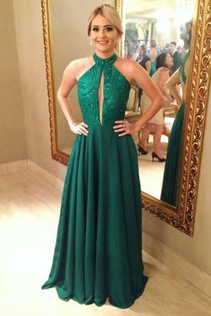 Charming A-Line Jewel Green Keyhole Open Back A Line Prom Dress with Beading Prom Dress, Chiffon Prom Dress, A-Line Prom Dress, Open Back Prom Dress, Green Prom Dress Prom Dresses 2020 Open Back Prom Dresses, Simple Prom Dress, A Line Prom Dresses, Prom Dresses Online, Cheap Prom Dresses, Nice Dresses, Evening Dresses, Party Dresses, Beaded Prom Dress