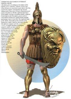 Cypriot or Asian Dorian in Persian service, 480 BC Greek History, Ancient History, Art History, Armadura Medieval, Greek Warrior, Fantasy Warrior, Military Art, Military History, Ancient Armor