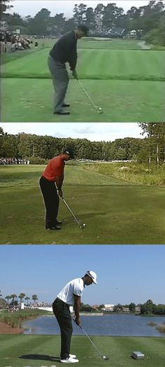 GIF: Tiger Woods' golf swing with Butch vs. Foley - Davis Love - Tiger Woods - Don Donatello - Golf PGA Golf Tiger Woods, Woods Golf, Golf Instructors, Golf Pga, Golf Putters, Golf Tips For Beginners, Perfect Golf, Golf Training, Golf Lessons