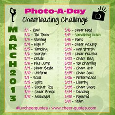 Cheer Pic...Photo-a-Day Challenge...like the idea but would change a few and make it leading up to competition or the first game or homecoming