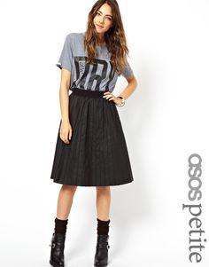 ASOS Petite   ASOS PETITE Exclusive Leather Look Pintuck Pleated Midi Skirt at ASOS