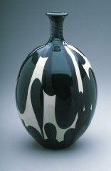 Black and white bottleneck vase, Porcelain, 16 in. tall, from Sam Scott Pottery.
