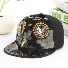 fashion hiphop owl design bling charms rivet decoration cap street dancer peaked cap glacier cap snapback cap handmade trendy hat by littledandeliondream on Etsy
