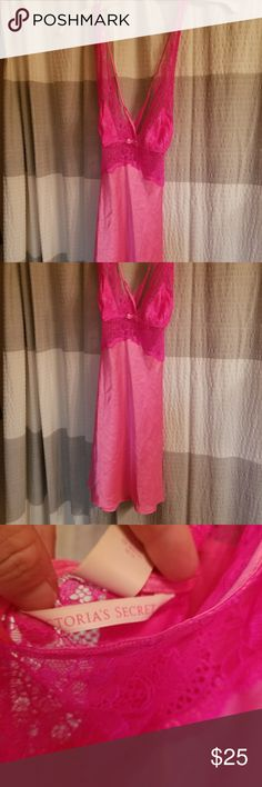 Hot Pink VS Silk nighty Victoria's Secret hot pink Silk & Lace nighty ...worn once...Gorgeous color pink! Victoria's Secret Intimates & Sleepwear