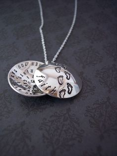 Hand Stamped Pendant  FOOTPRINTS in the SAND by SayAnythingJewelry, $68.00