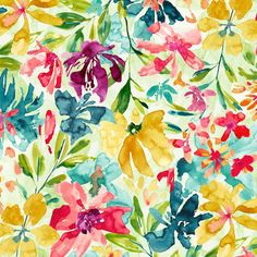 DESIREE is a contemporary allover watercolor floral print design. The loosely rendered flowers & leaves keep the nature of this fabric very… Watercolor Floral Wallpaper, Watercolor Pattern, Watercolor Print, Watercolor Flowers, Paper Flower Patterns, Paper Flowers, Floral Patterns, Floral Print Design, Floral Prints