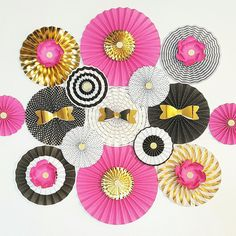 Pink Black and Gold Themed Paper Fans, 15 PC SET, Baby Shower Decor, Bachelorette Party, Wedding Decoration, kate Spade inspired Paper Fans
