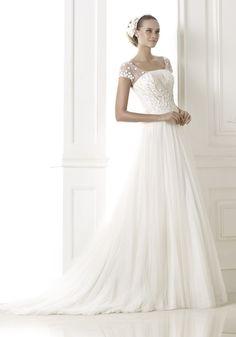 Pronovias 2015 Collection - Scoop neck neckline wedding dress.  Available at Designer Bridal Room
