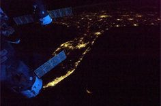 Spaceships glowing blue in the dawn as we leave Florida headed across the Atlantic, via Commander Chris Hadfield on the ISS.