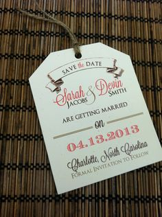 Cute luggage tag - cool idea for travel themed wedding. Name tags? Wedding invites?