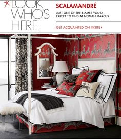 Scalamandre Maison bedding, lighting and decorative accents, Scalamandre by Lenox accessories... and our iconic red zebra wallpaper... as seen in the new Neiman Marcus spring catalog!
