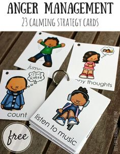 Anger Management: 23 Free Calming Strategy Cards These free cards are great for talking to kids about calming themselves. Let them pick their favorite strategies to try! Classroom Behavior, Classroom Management, Classroom Freebies, Anger Management Activities For Kids, Behaviour Management Strategies, Behavior Cards, Coping Skills Activities, Growth Mindset Activities, Classroom Expectations